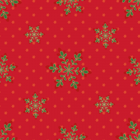 Snowflakes with stars on a red background Vector