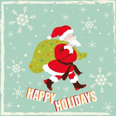 santa claus background: Vintage Santa Claus background with snowflakes