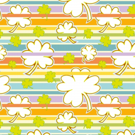 cute clover seamless pattern on a colorful striped background Vector