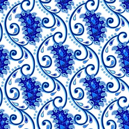 Vintage paisley porcelain seamless   イラスト・ベクター素材
