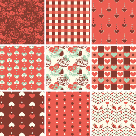 Vintage romantic seamless pattern with roses and hearts Vector
