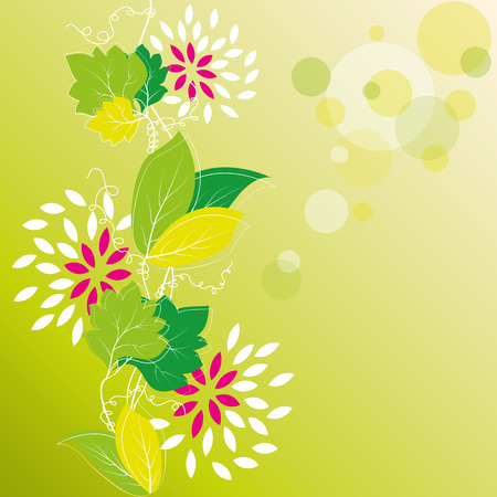 Floral background with ivy leaves and flowers