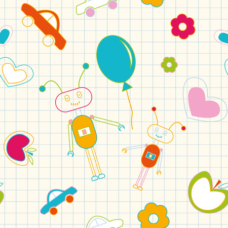 School seamless pattern with doodles of toys Vector