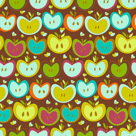 Sweet apples on a brown background Vector