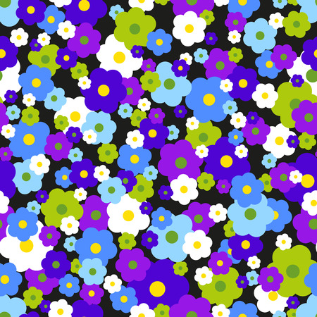 marguerite: Seamless pattern with small flowers on a dark background