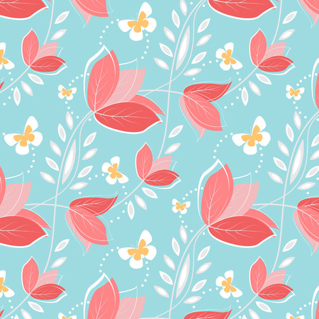 Seamless pattern flowers and butterfly Vector