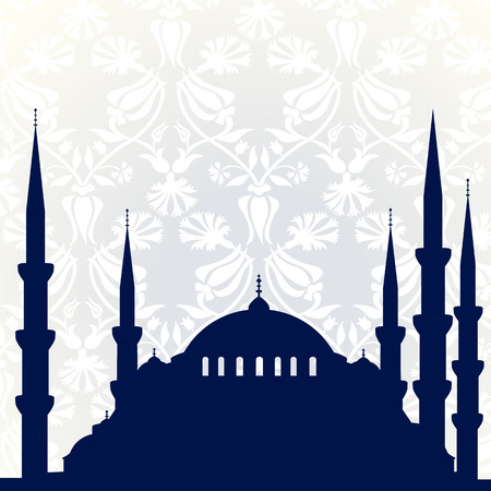 Blue mosque with ornamental background Vector