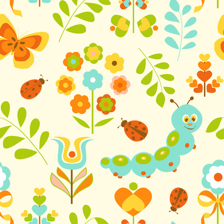 Seamless pattern with cute caterpillar and flowers Vector