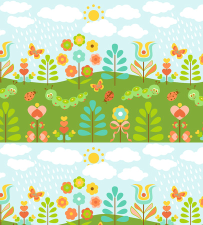 Seamless pattern with cute ladybirds, caterpillars and sweet flowers Vector