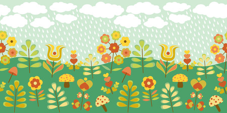 Cute vintage seamless border with rainy countryside Vector
