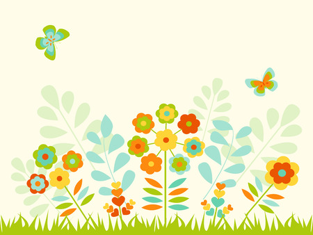 Greeting card  with cheerful color and flowers Vector