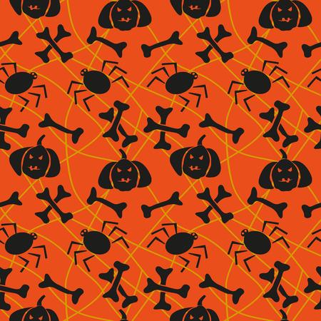 Halloween seamless pattern with bones and pumpkins Vector