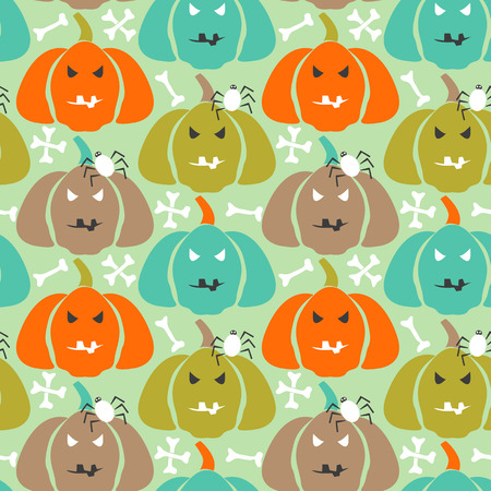 Halloween seamless pattern with bones and pumpkins