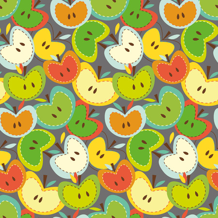 Seamless vector pattern with bright apples Vector