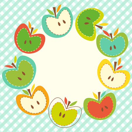 Beautiful greeting card with apple wreath.