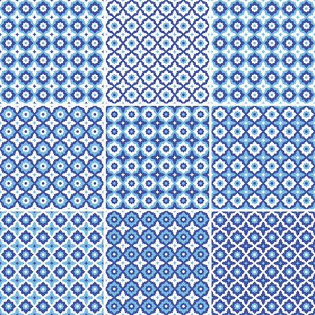 Set of seamless pattern,white and blue ceramic tile with floral ornate.Endless texture.vector 向量圖像