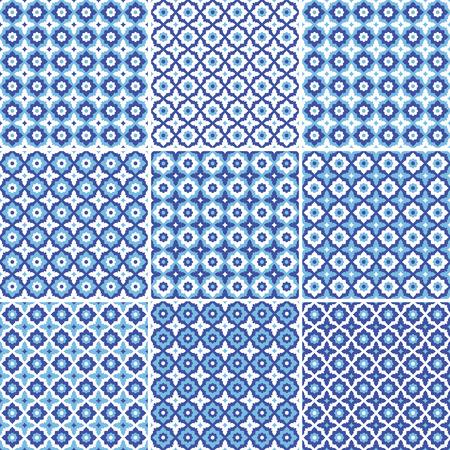 Set of seamless pattern,white and blue ceramic tile with floral ornate.Endless texture.vector Ilustração