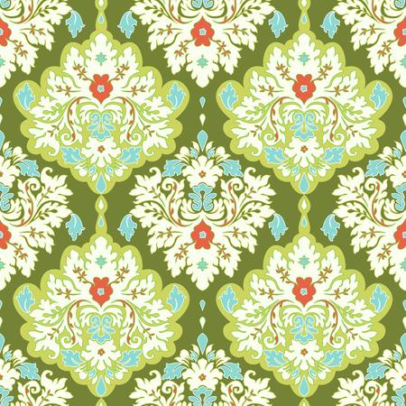 Damask seamless floral background pattern. Vector