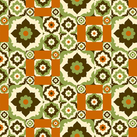 ceramic tile: Seamless pattern retro ceramic tile design with floral ornate.Endless texture.vector daisy background. Illustration