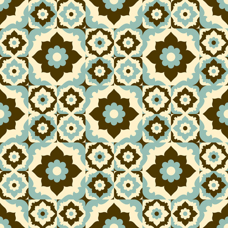 ceramic tile: Seamless pattern vintage ceramic tile design with floral ornate.Endless texture.vector daisy background. Illustration