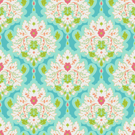 Floral colorful damask seamless pattern. Classic background Vector