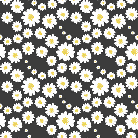 White daisies flower seamless pattern on a black background. Vector