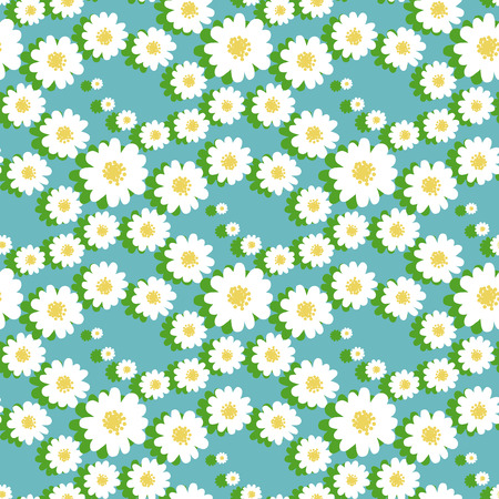marguerite: White daisies flower seamless pattern on a blue background.