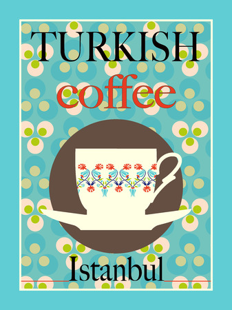 turkish coffee: Turkish Coffee Poster Design Illustration