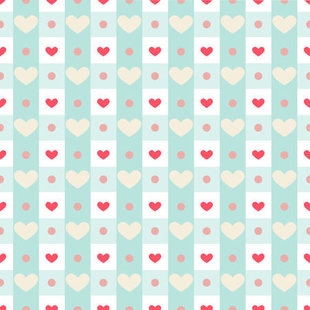 Cute retro seamless pattern with small hearts on gingham background Illustration