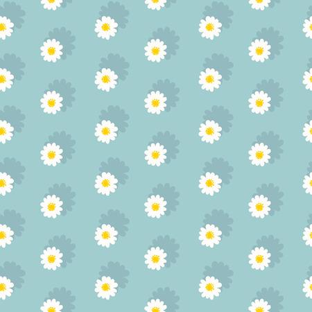 White daisies seamless pattern on a blue background Çizim
