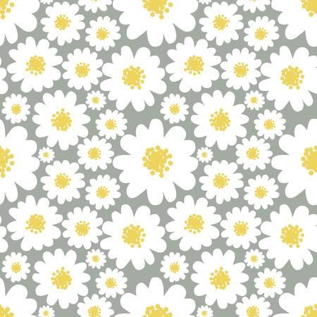 petites fleurs: Marguerites blanches seamless pattern sur un fond gris.