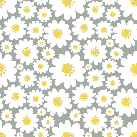 pastel backgrounds: White daisies seamless pattern on a grey background. Illustration