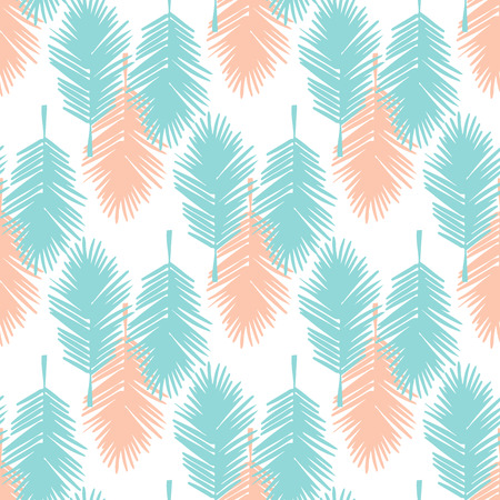 Seamless tropical palm leaves illustration background pattern.