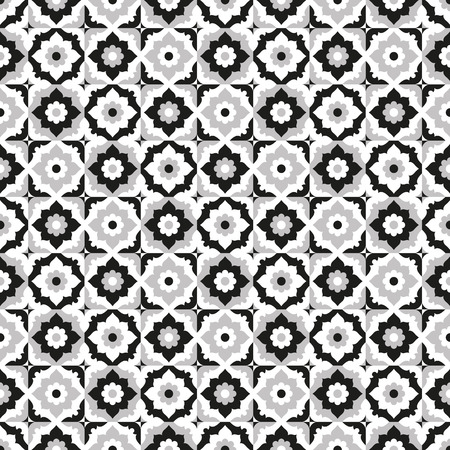 Seamless pattern black and white ceramic tile design with floral ornate.Endless texture.vector daisy background. Vektorové ilustrace