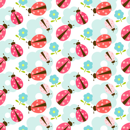 ladybug: Seamless floral vector pattern with ladybug