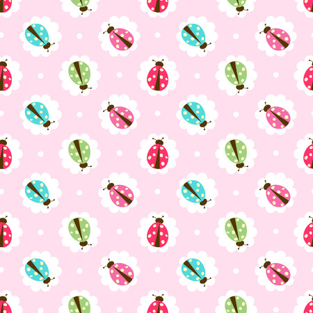 Seamless ladybug illustration  pattern with shabby chic style
