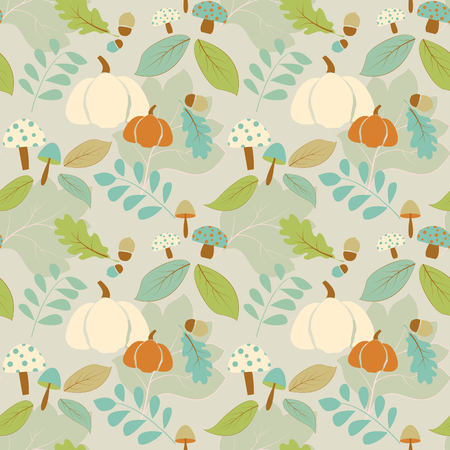 fall leaves: Seamless pattern with fall elements,leaves,vegetables...