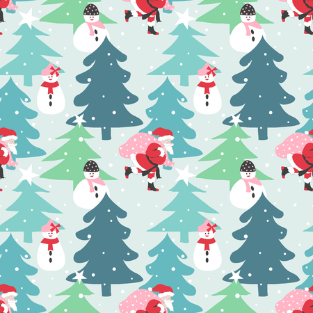 Christmas background.Santa Claus, snowman with Christmas tree Ilustração