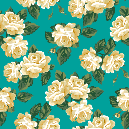 pale cream: Vintage rose pattern design. Shabby chic style Illustration