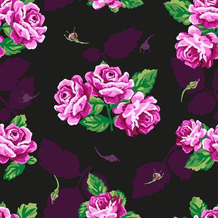 english rose: Beautiful floral seamless pattern . Vintage rose pattern