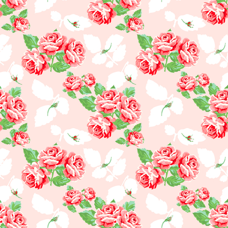 Vintage rose pattern design. Shabby chic style Illustration