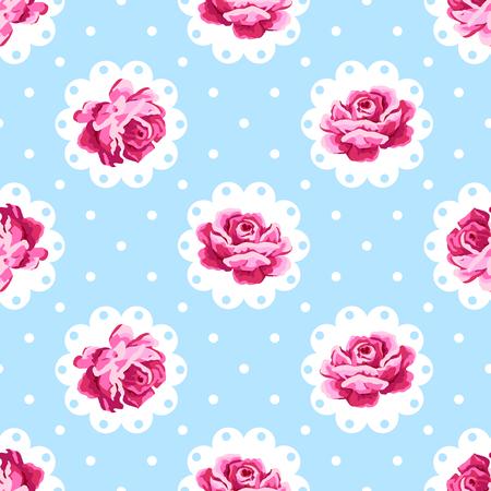 Vintage rose pattern. Shabby chic style background  イラスト・ベクター素材
