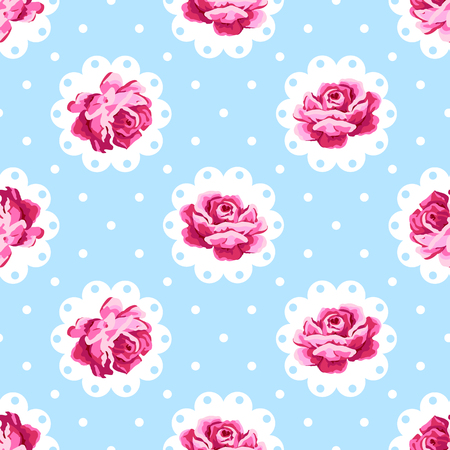 Vintage rose pattern. Shabby chic style background 向量圖像