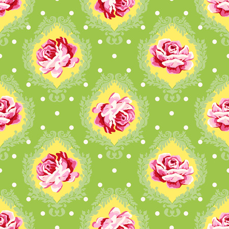 Vector seamless vintage floral pattern. Pink roses with green leaves on a damask background.
