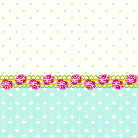 Vintage roses with polka dots and hearts background Illustration