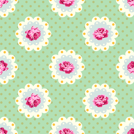 Vector seamless vintage floral pattern with polka dots background.  Shabby chic pattern. Ilustração
