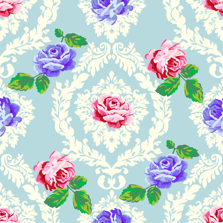 purple roses: Shabby chic rose damask pattern. Vector seamless vintage floral pattern. Illustration