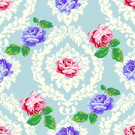 Shabby chic rose damask pattern. Vector seamless vintage floral pattern. Illustration