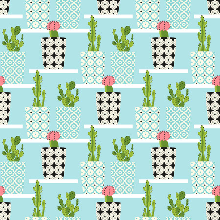 terrarium: Vector pattern with cacti. Cute cactus flowers in ornamental pots. Hand drawing  illustration.