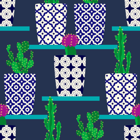 Vector pattern with cacti. Cute cactus flowers in ornamental pots. Hand drawing  illustration.